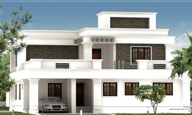Flat Roof Villa Exterior Feet House Design Plans