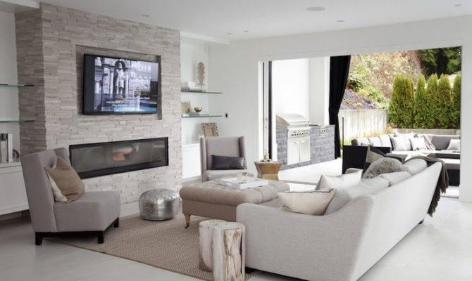 Floor Ceiling Fireplace Contemporary Living Room Cross Decor