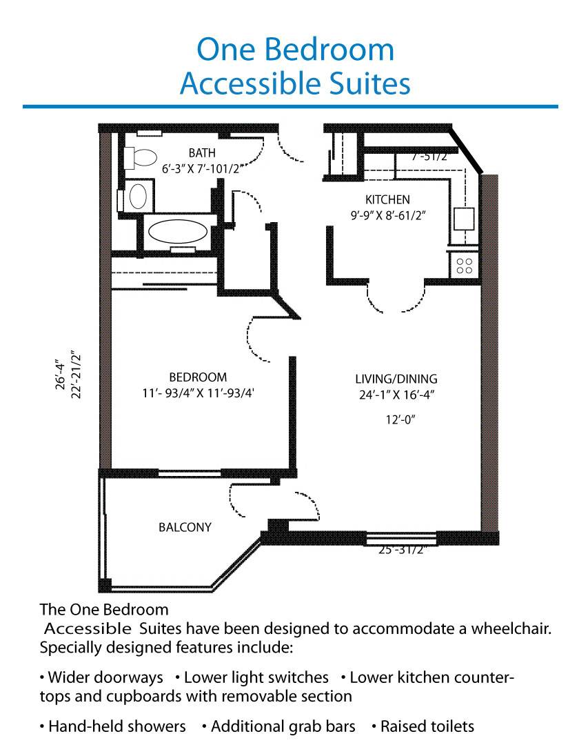 Floor Plan Accessible One Bedroom Suite Quinte