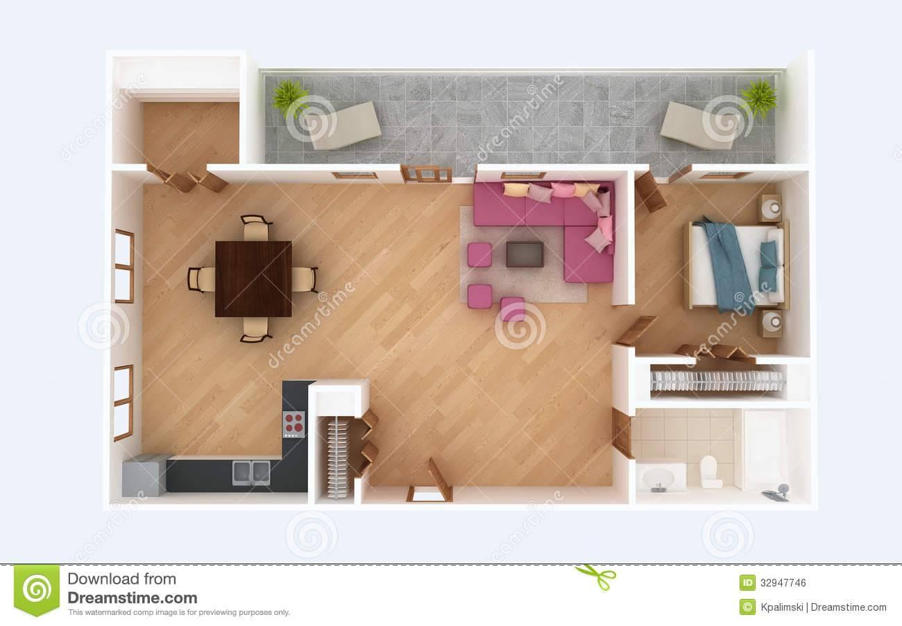 Floor Plan Section Apartment House Interior Overhead