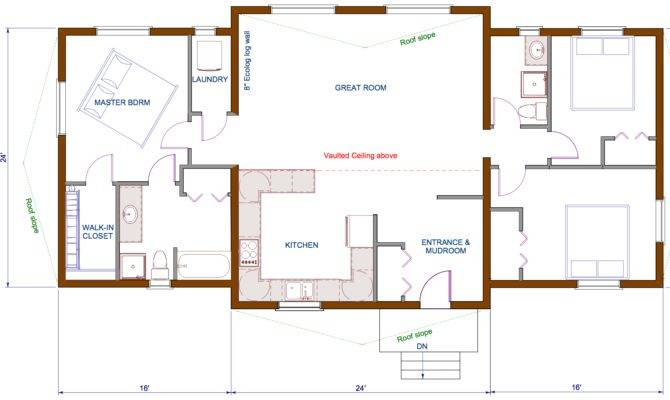 Floor Plan Sqft Wing Shaped Single Level Log Home Rancher
