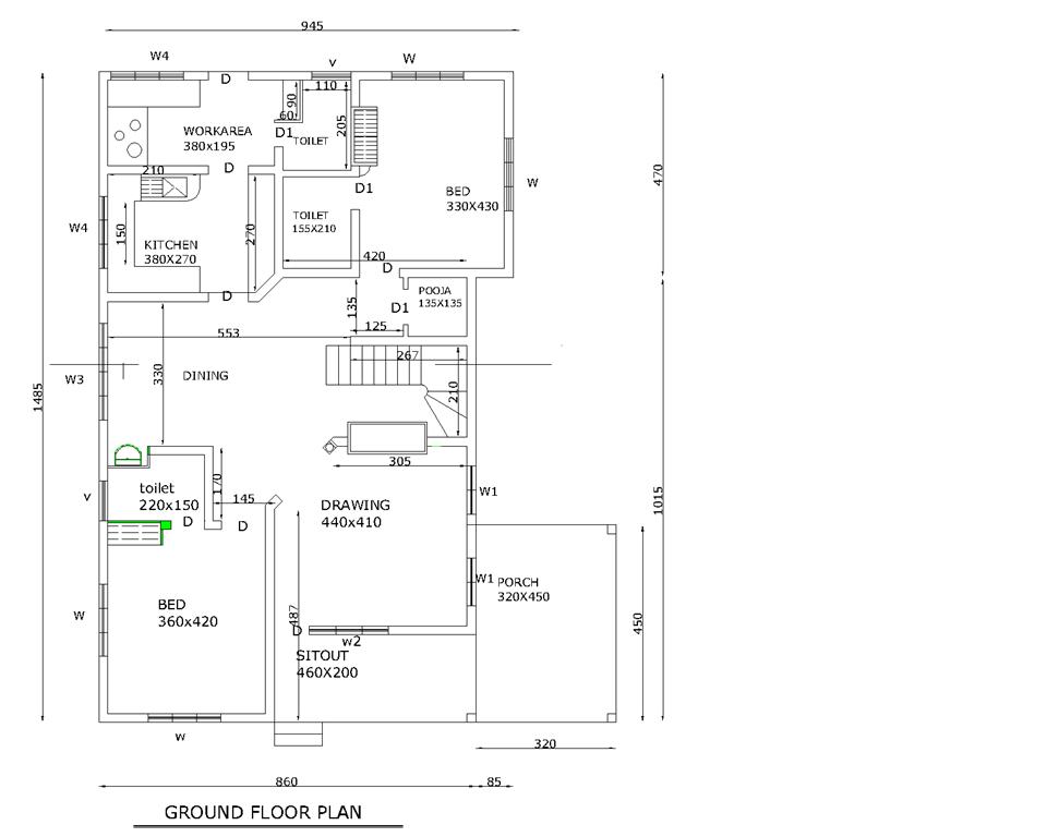 Floor Plan Three Bedroom Kerala Villa Squarefeet