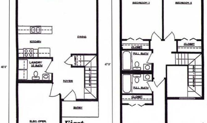 Floorplan Bedroom Bath Story Townhome Lincoln