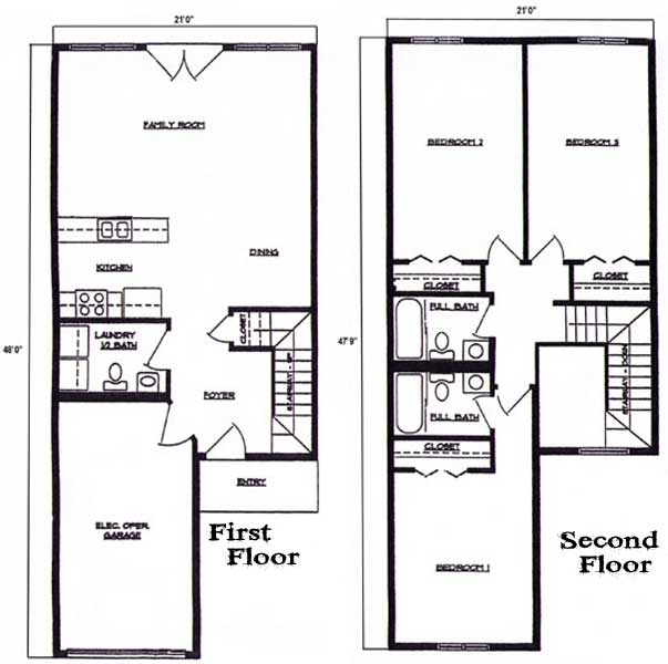 Floorplan Bedroom Bath Story Townhome Lincoln