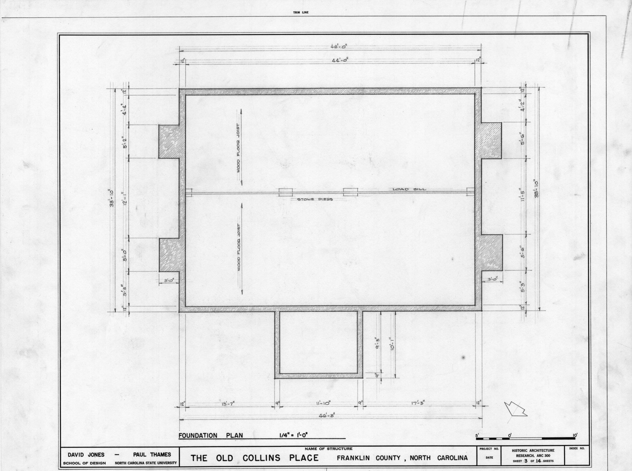 Foundation Plan Collins House Franklin County North Carolina