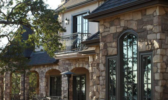 French Country Home Stone Rear Exterior