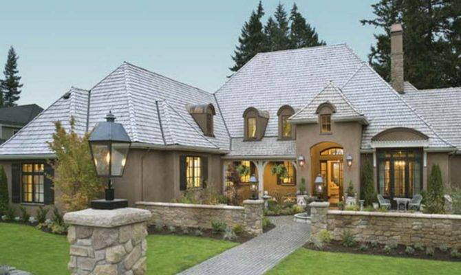 French Country House One Story Luxury Home