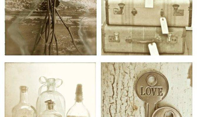 French Country Romantic Prints Sepia Wall Art Rustic