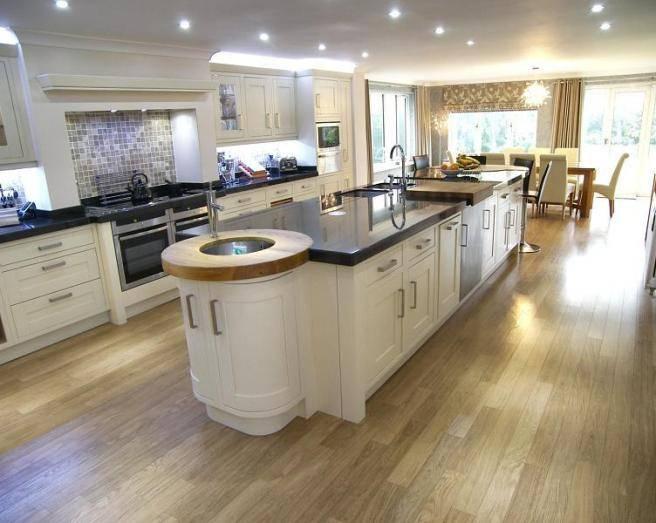 Fresh Large Open Plan Beige Black White Kitchen Diner
