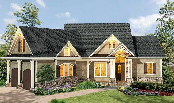 Gabled Bedroom Ranch Home Plan Architectural