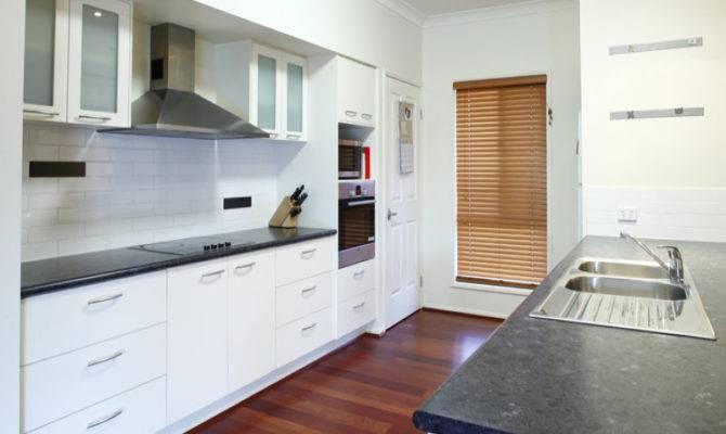 Galley Kitchen Design White Cabinets Wooden Floor Smart