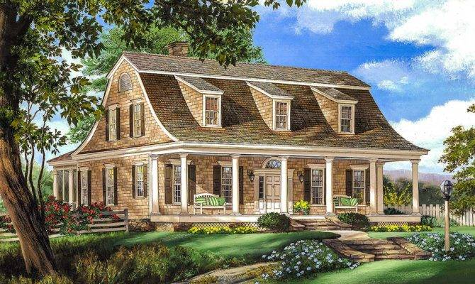 Gambrel House Plan Stairs Architectural