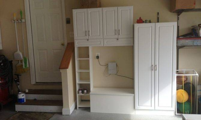Garage Mud Room Could Convert Laundry Like Tall Storage