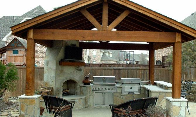 Gazebo Design Feats Contemporary Outdoor Kitchen Stone Fireplace