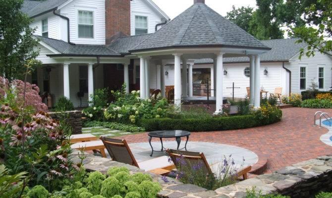 Gazebo Plans Fireplace Patio Traditional Brick Paving Cabana