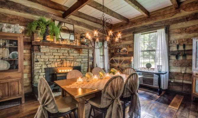 Gentry Farm Log Cabin Dining Room Left Rustic