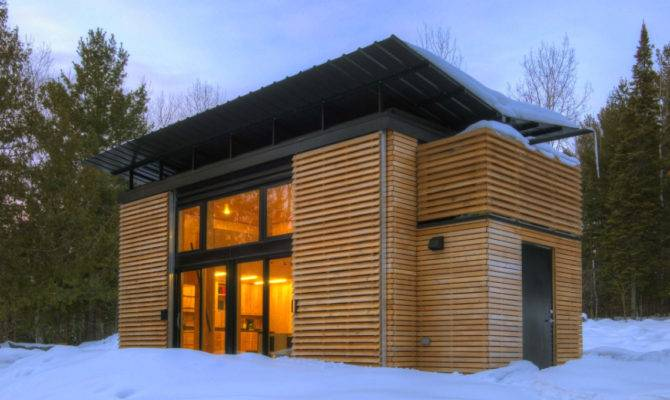 Glass Modern Design Small House Wood Wall Door Open