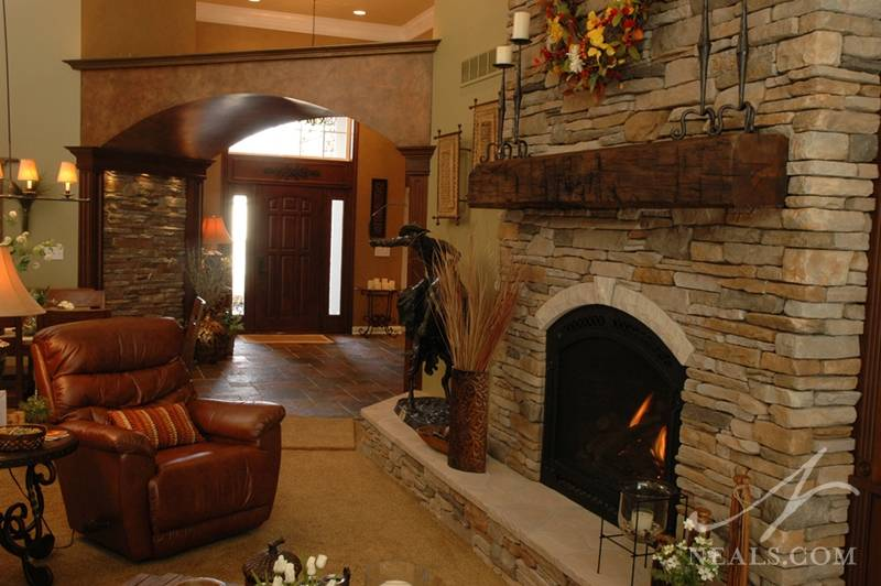 Great Room Floor Ceiling Stone Fireplace Withamsville
