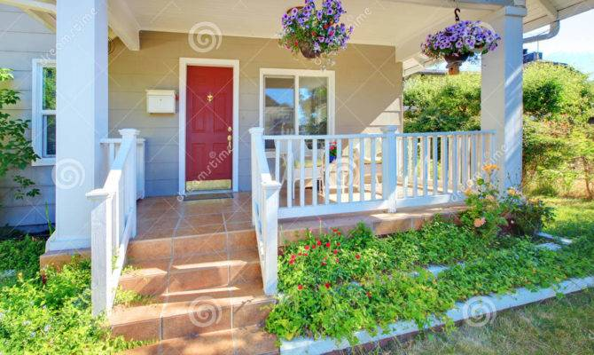 Grey Old House Front Porch Exterior Red Door