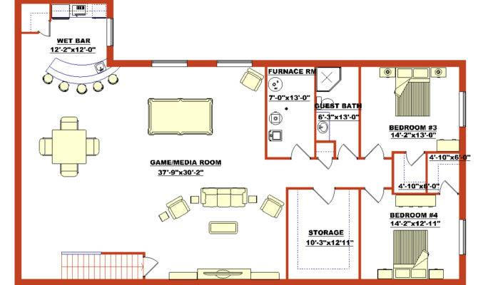 High Quality Finished Basement Plans Walk Out
