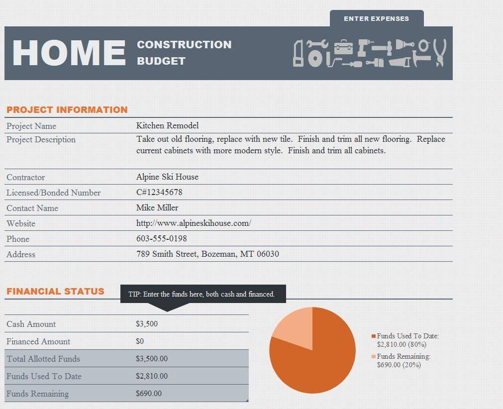 Home Construction Budget Spreadsheet