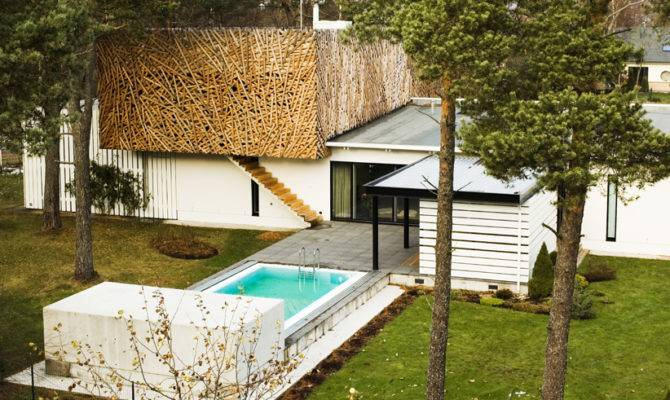 Home Design Modest House Outside Pool