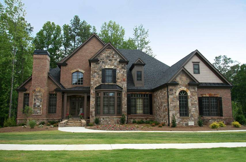 Home Designs Awesome Stone Combination Wall Brick Homes