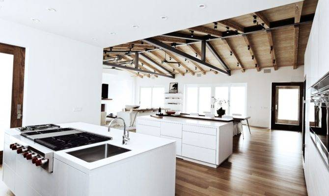 Home House Exposed Beam Celings Open Floor Plan Dining Room White
