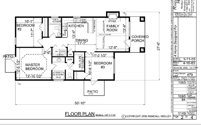 House Plan One Story Narrow Lot