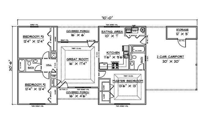 House Plans Bedroom Carport