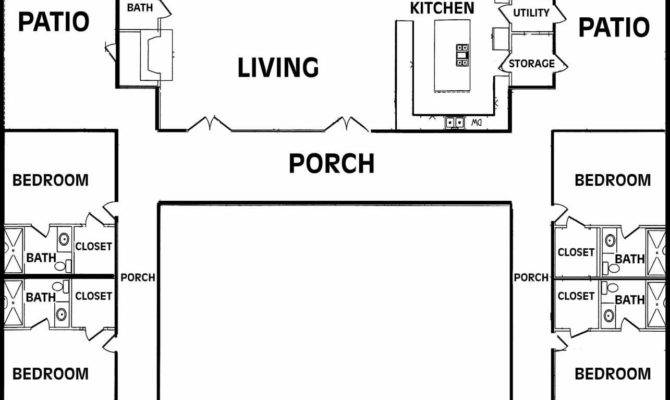House Plans Courtyard Pool Middle