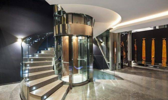 House Plans Glass Elevators Next Staircase