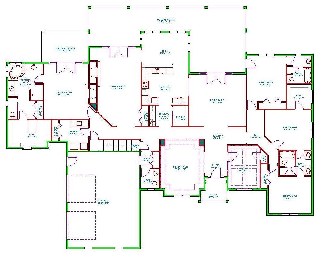 House Plans Make Elegant Homes Open Airy Floor