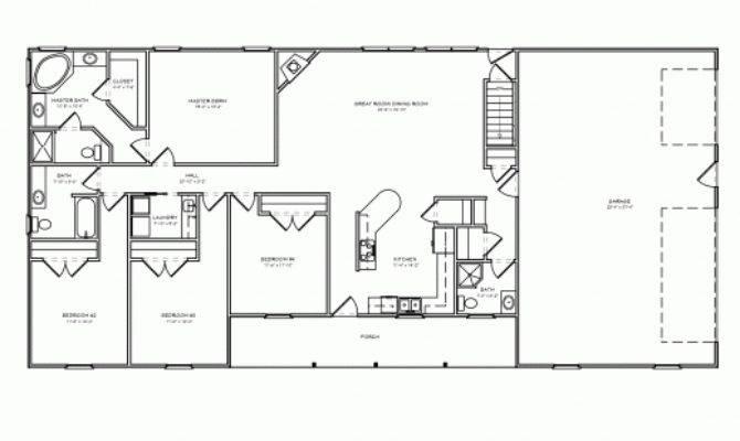 Inspiring Bedroom Ranch House Plans Carport