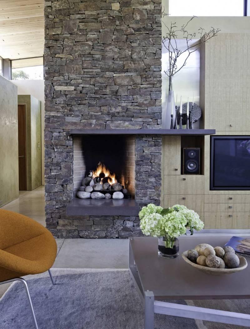 Interior Great Living Room Decoration Using Grey Veneer