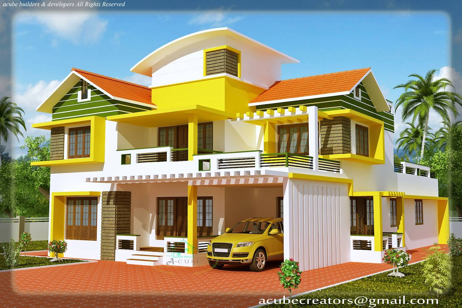 Kerala Duplex House Elevation
