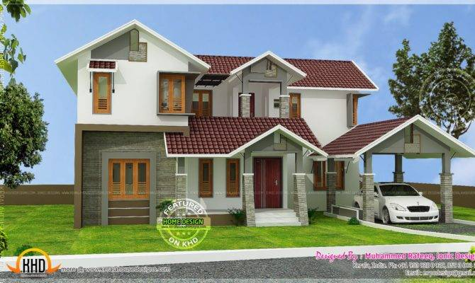 Kerala Home Design Floor Plans Sloping Roof House