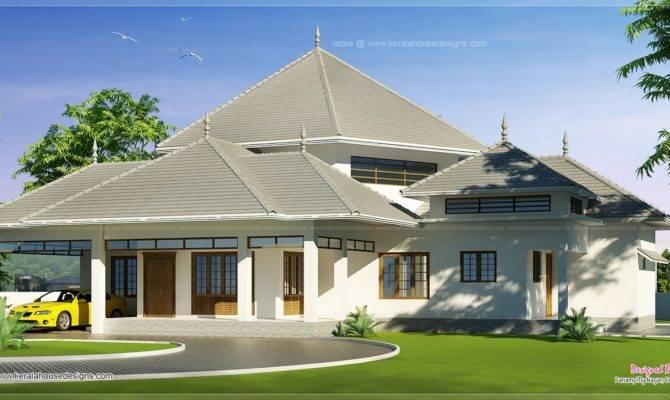Kerala Style Modern Roof House Feet