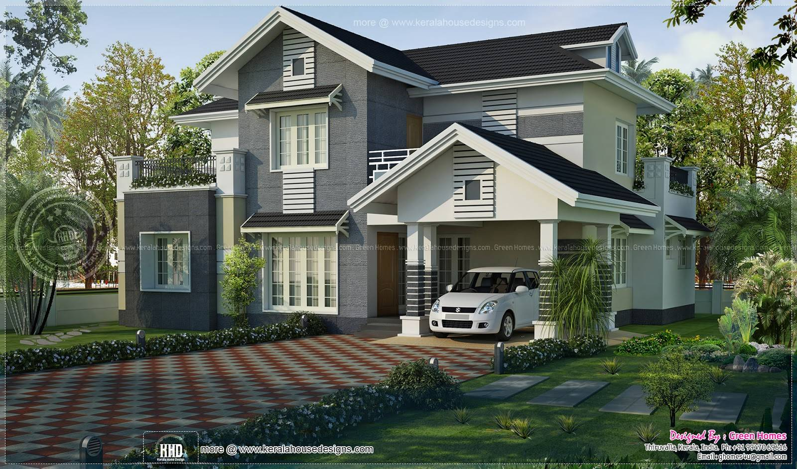 Kerala Style Sloped Roof House Design Green Homes