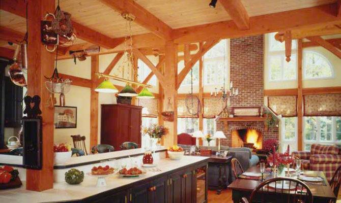 Kitchen Dining Room Open Into Cathedral Ceiling Timber