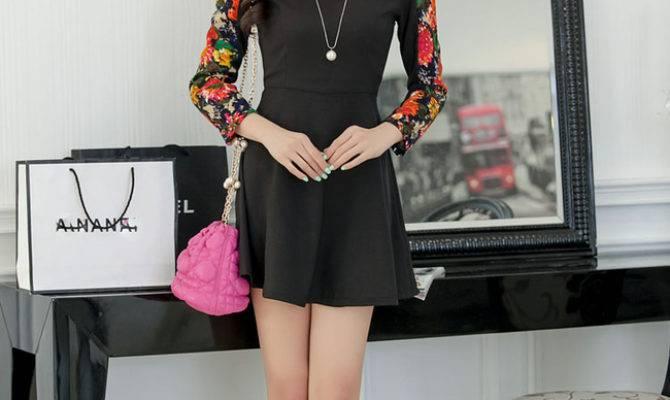 Korean Cute Style Long Sleeve Women Dress Floral Printed