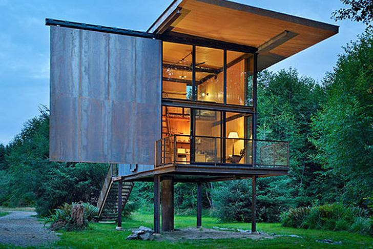 Kundig Architects Prefab Sol Duc Cabin Rests Lightly Four Stilts