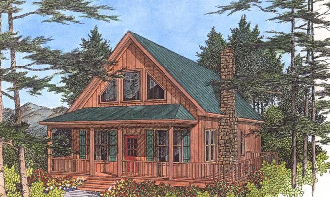 Lake Cabin Plans Mountain Home Plan Front
