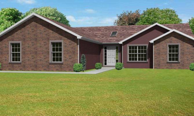 Large Red Brick Ranch House Design Office