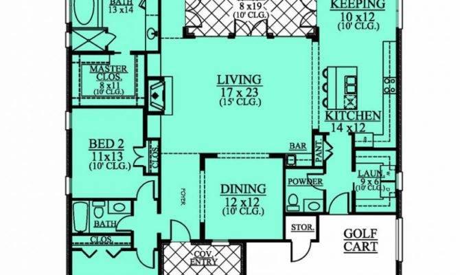 Level Bedroom Bath House Plan