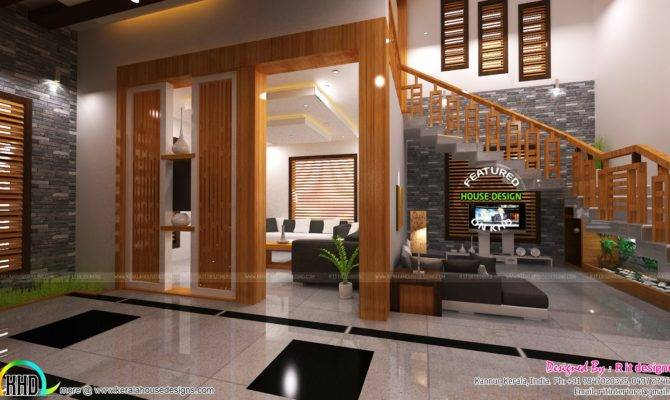 Living Foyer Under Stair Interiors Kerala Home Design