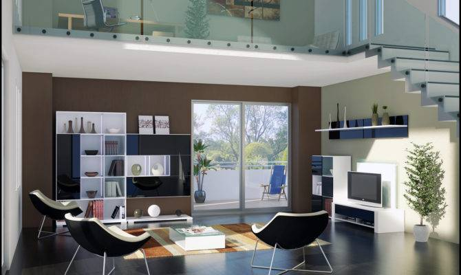 Loft Style Living Space Rendering