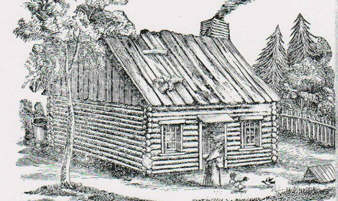 Log Cabin Woods Drawing