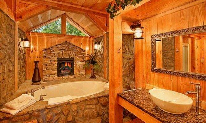 Log Home Bathroom Favorite Places Spaces Pinterest