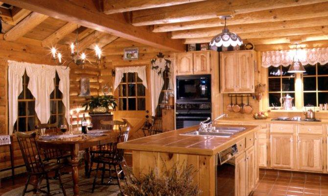 Log Home Kitchen Warmth Tiles Island Counter